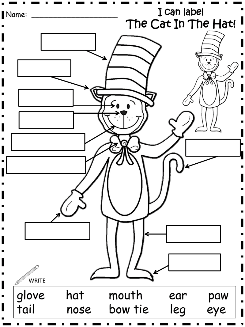 Worksheets Cat In The Hat Worksheets cat hat labels pdf for the 2014 librarian pinterest pdf