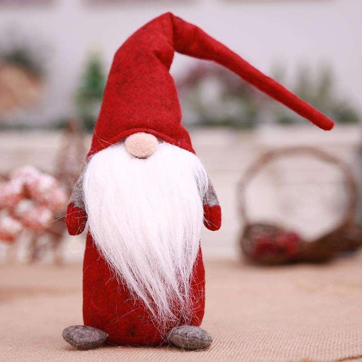 Home Decor-Christmas Old Man Faceless Stand Doll Toy Home ...