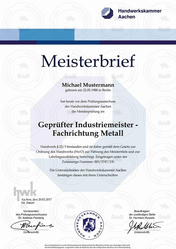 Meisterbrief kaufen, HWK Meister Urkunde kaufen, Mba Meister kaufen ...