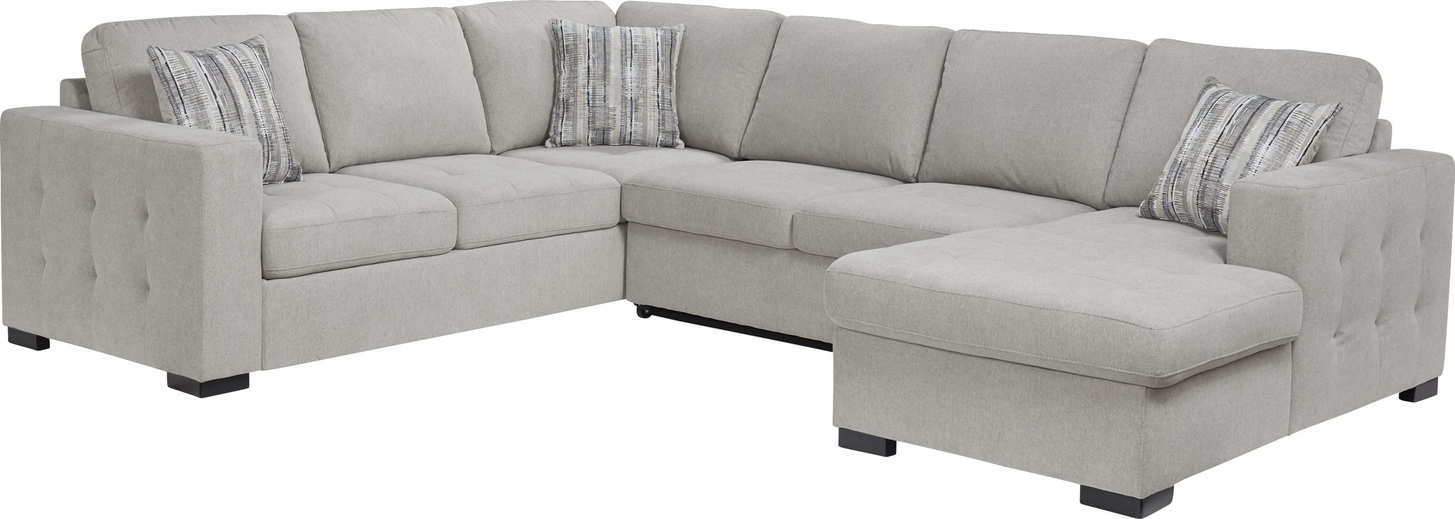 Best Angelino Heights Gray 3 Pc Sleeper Sectional In 2020 400 x 300