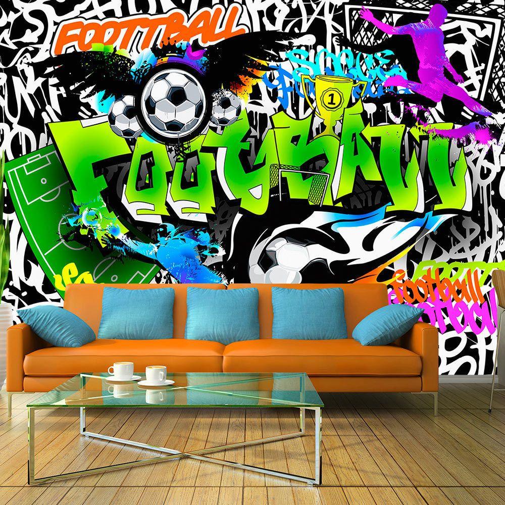 details zu fototapete graffiti vlies tapete fu ball sport wandbilder 3 farben i a 0111 a b. Black Bedroom Furniture Sets. Home Design Ideas