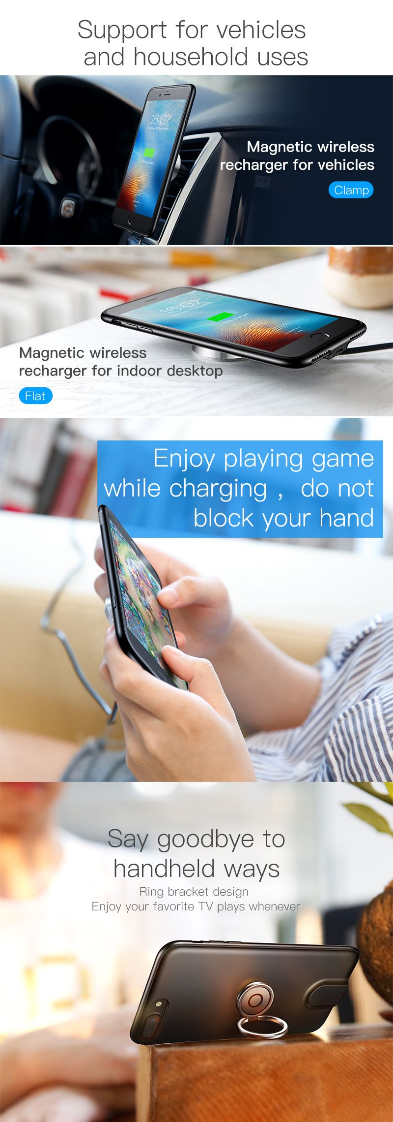 419cf24ab7b6f0 Baseus Wireless Charger Case With Magnetic Charging Car Holder for iPhone  7/8 7Plus/8 Plus BazaCenters.Com