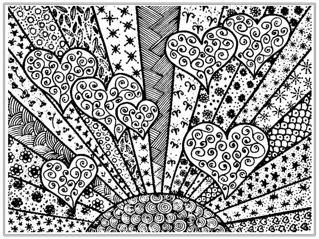Shining Heart Adult Free Coloring Pages Printable