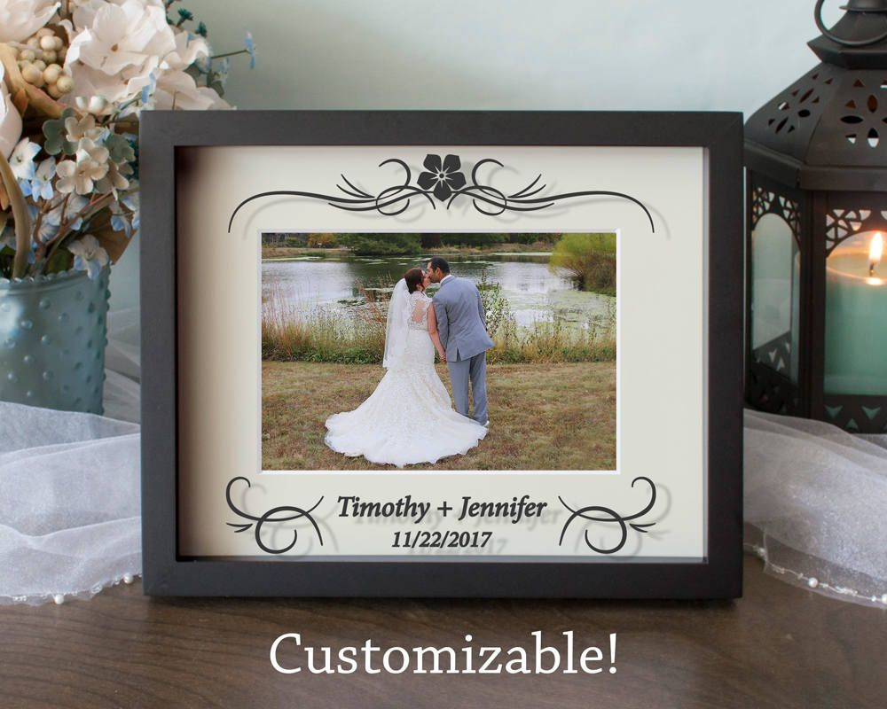 Personalized Wedding Picture Frame Center Flower Anniversary Frame Shadow Box Vinyl On Glass 8x10 11x14 Personalized Wedding Picture Frame Wedding Picture Frames Anniversary Frame