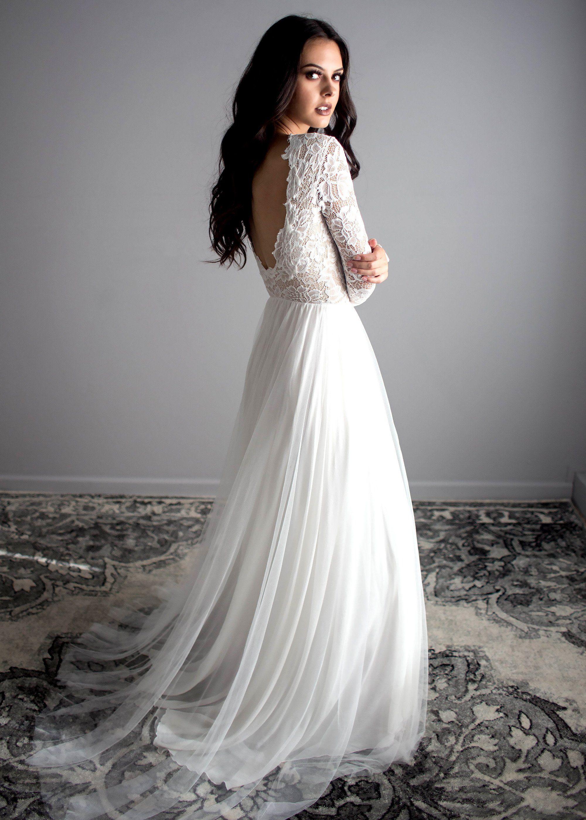 Zoey scoopback dress indie wedding dress hippy wedding dresses