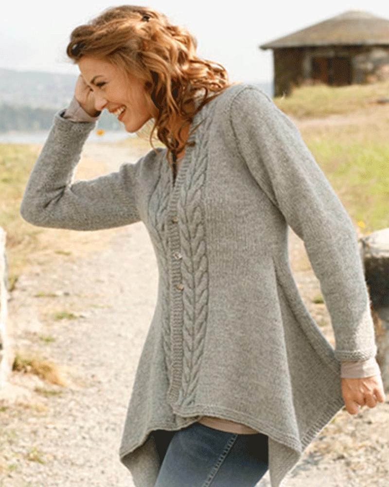 DROPS DESIGN - Asymmetrical style cardigan   Knitting and Crochet ...