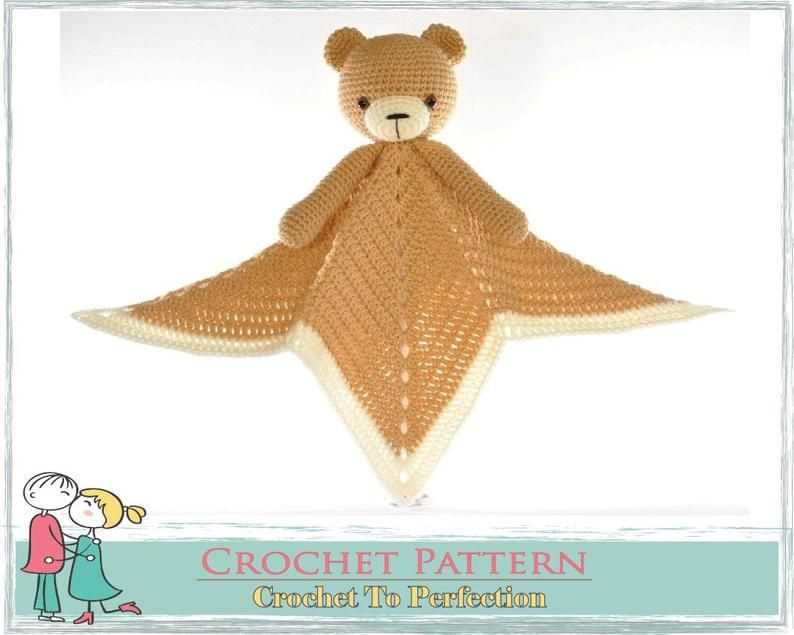 Crochet Lovey Pattern FREE Blanket Bear Teddy Security Blanket Crochet Lovey Blanket Blankie Baby Blanket Crochet Comforter Snuggle Pattern