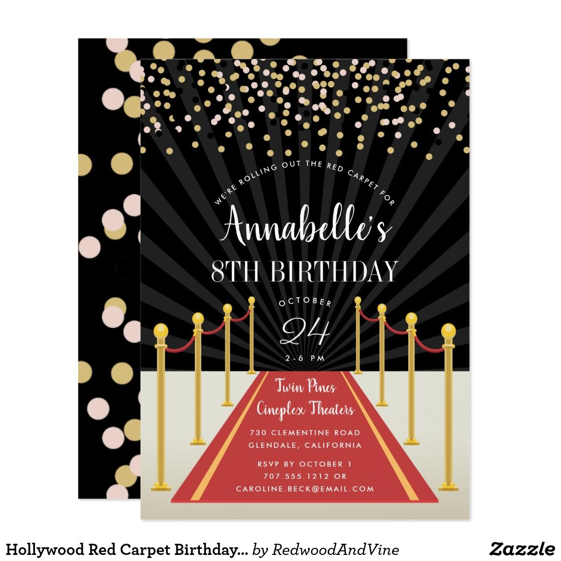 Hollywood Red Carpet Birthday Party Invitation | Hollywood red ...