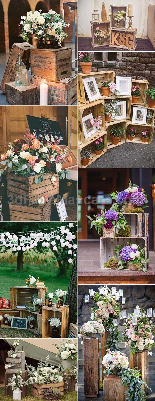 Wood wedding decoration ideas  vintage rustic wedding decoration ideas with wooden crates  Wedding