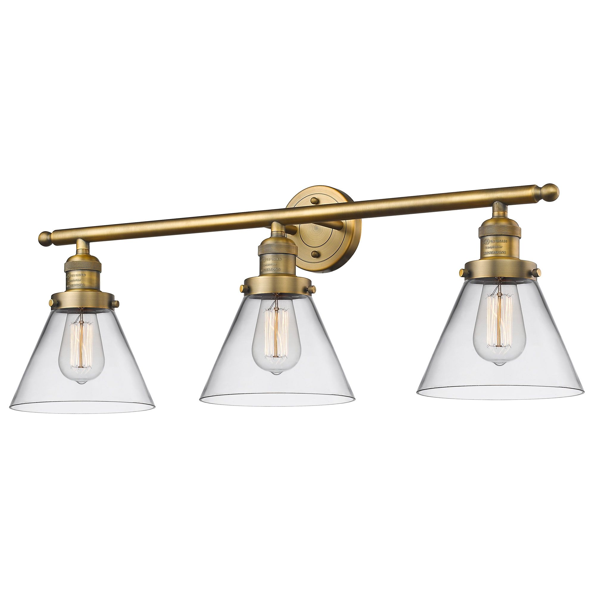 Photo of Large Cone 3 Light Vanity by Innovations Lighting | 205-BB-S-G42