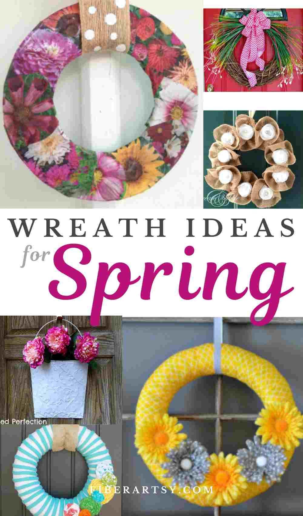 Diy Wreath Ideas For Spring Fiberartsy Com In 2020 Diy Wreath Spring Diy Diy Spring Wreath