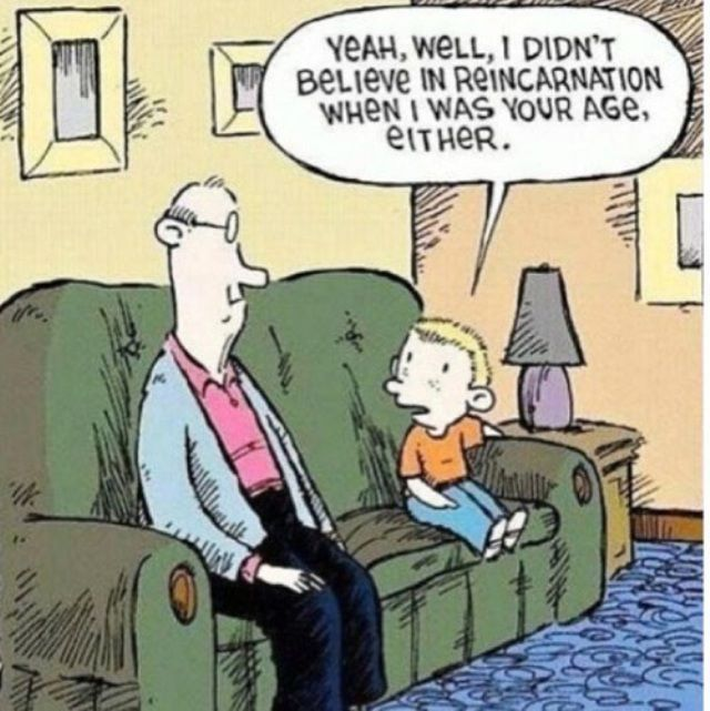 I DO believe in reincarnation. Have for a good portion of my life. And I like this cartoon.