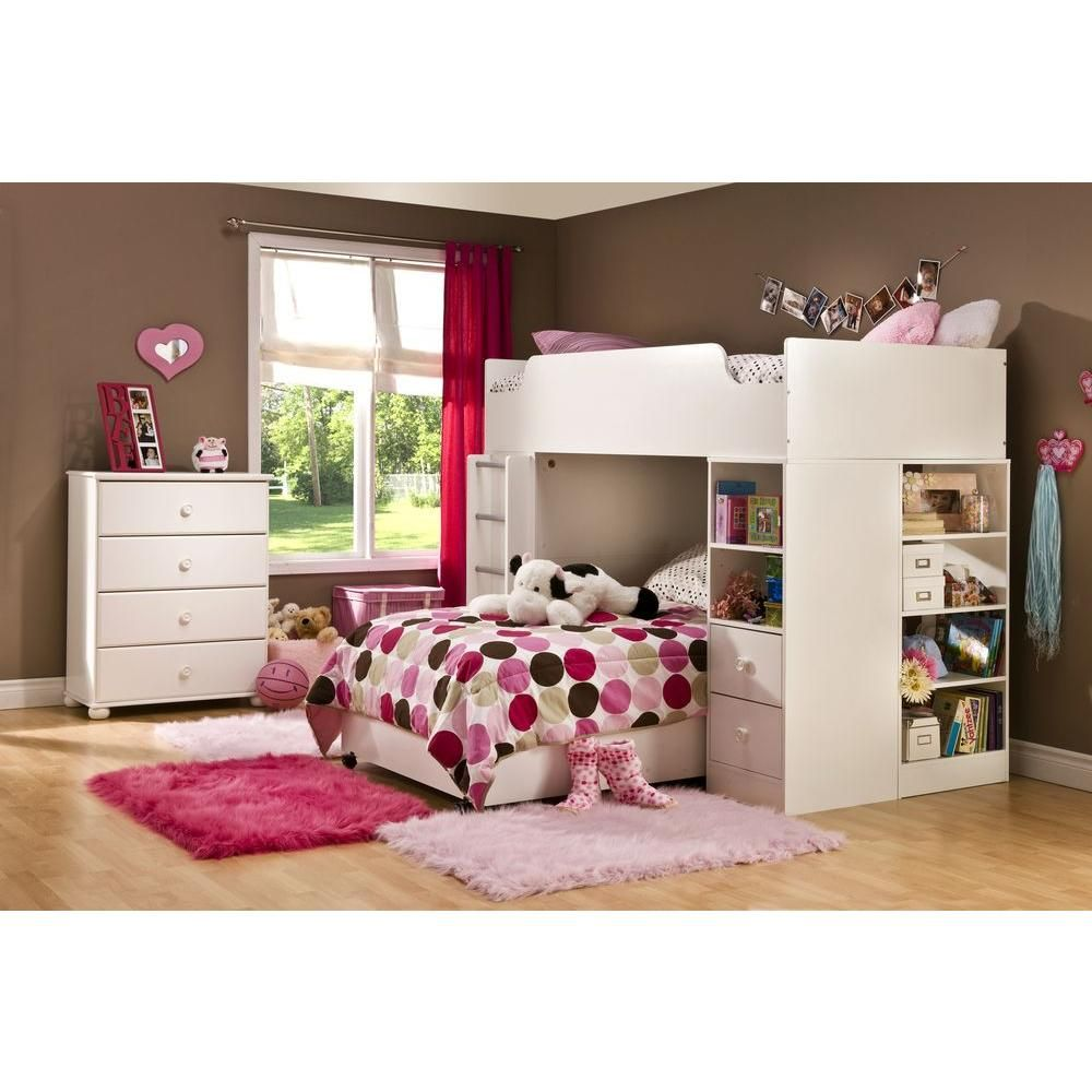 south shore logik 4 piece pure white twin kids bedroom set rh pinterest com