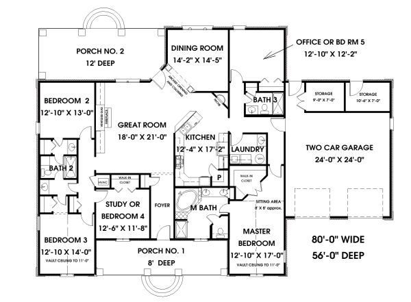 European Style House Plan 5 Beds 3 Baths 2550 Sq Ft Plan 44 157 5 Bedroom House Plans Bedroom House Plans European House Plans