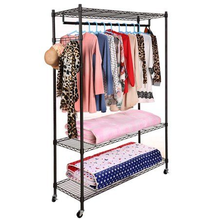Homdox Portable 3 Tier Wire Shelving Clothes Shelf Closet Organizer Garment Rack Side Hooks Wheels Black
