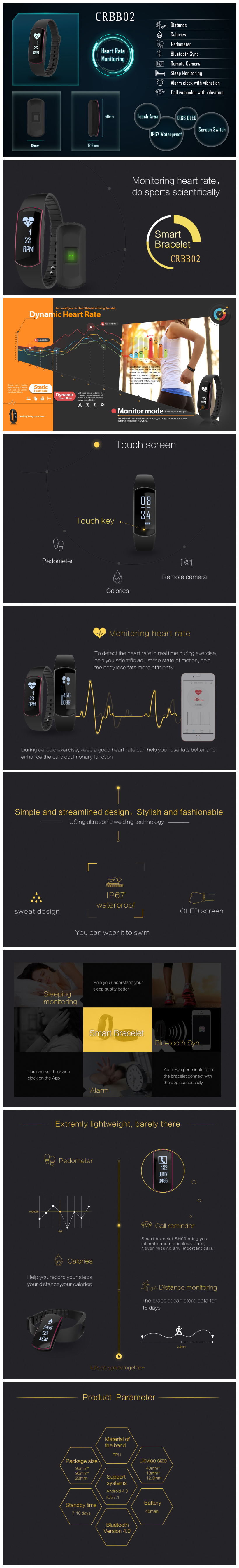 Dynamic heart rate smart sports band activity tracker