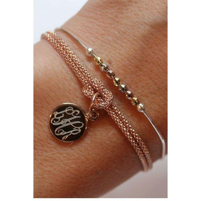 Monogrammed Square Knot Bracelet Gold Rose Sterling Silver