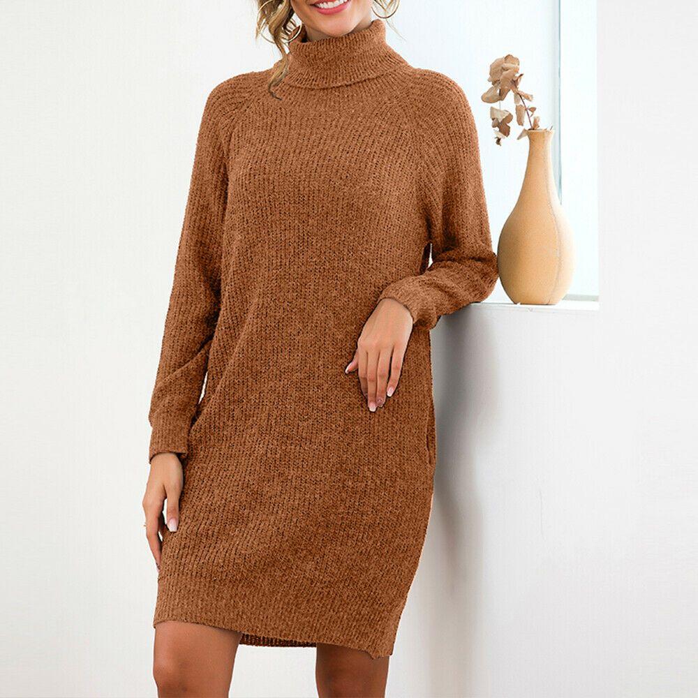 2019 Women's Loose Oversize Turtleneck Wool Long Pullover