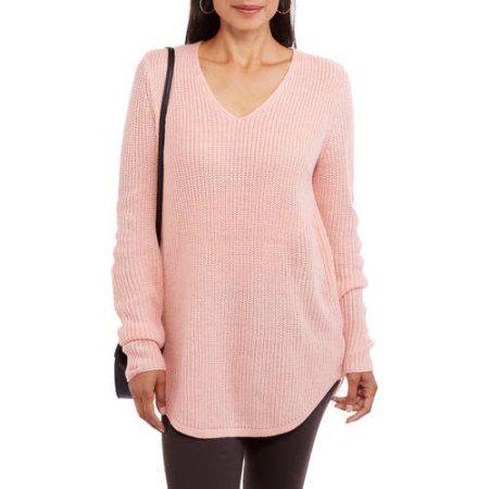 Faded Glory Women's Solid Shaker Tunic Sweater, Size: Medium, Pink ...