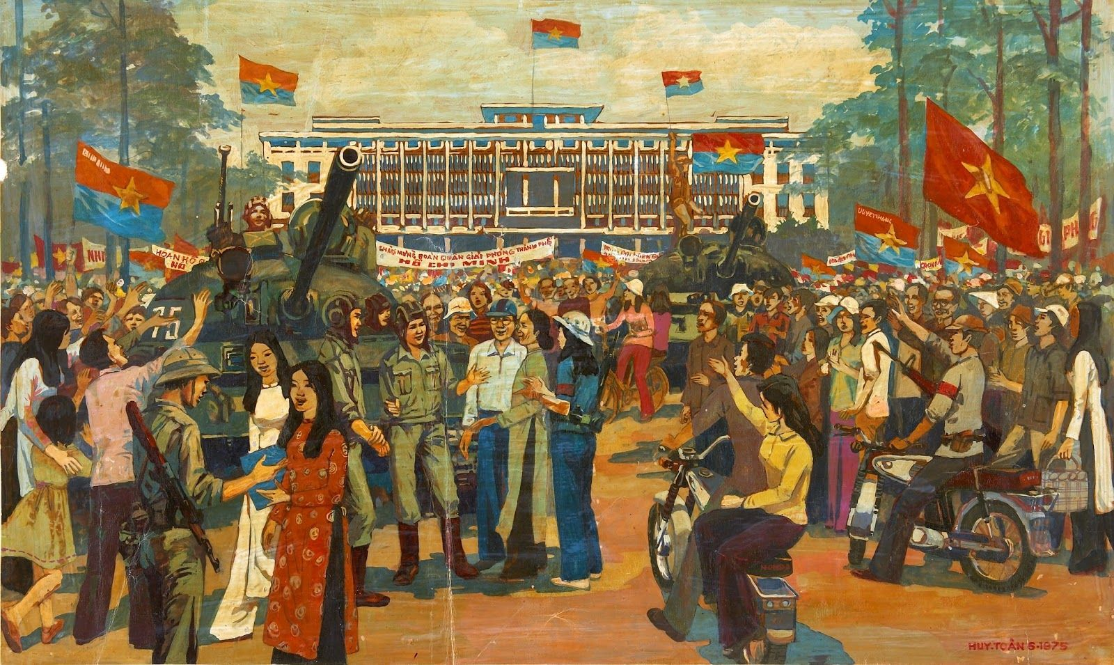 Painting Welcome The Liberation Army Of Ho Chi Minh City