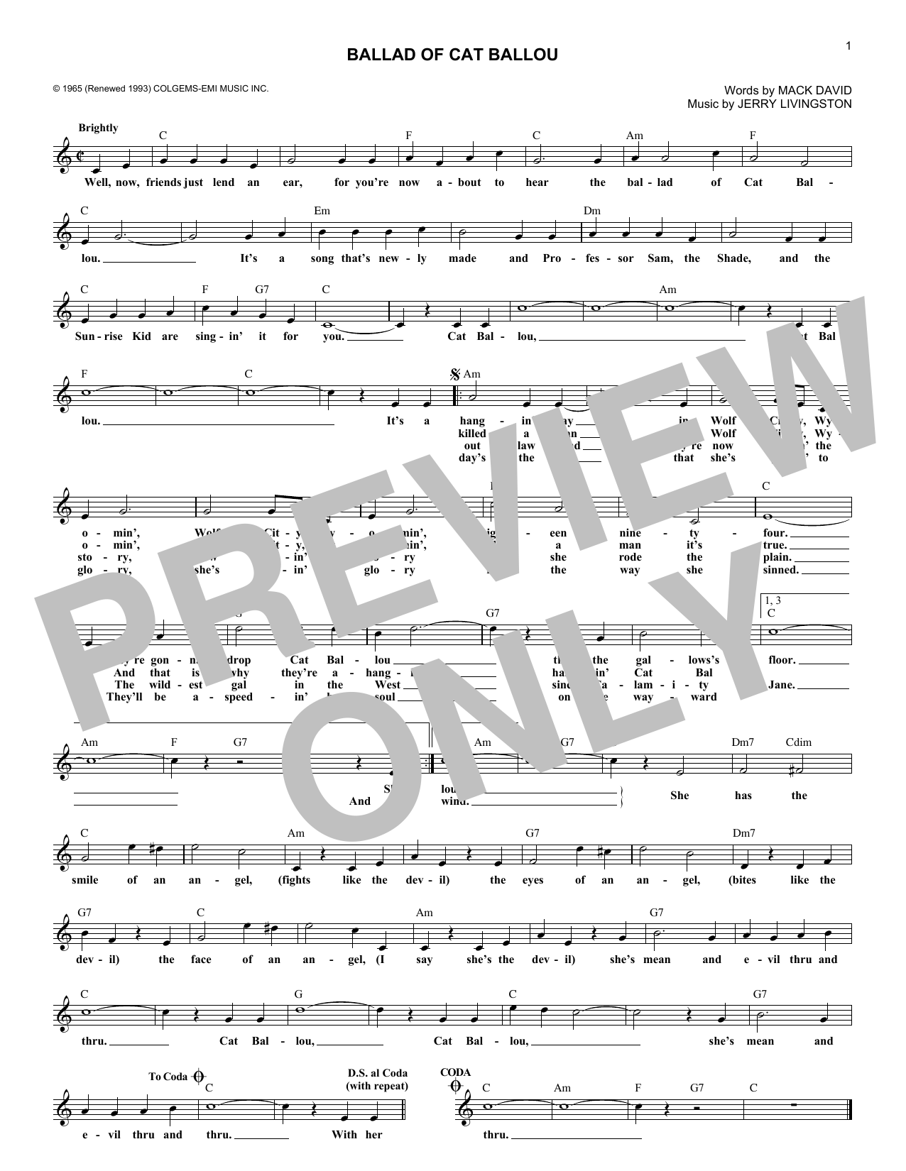 Jerry Livingston 'Ballad of Cat Ballou' Sheet Music Notes
