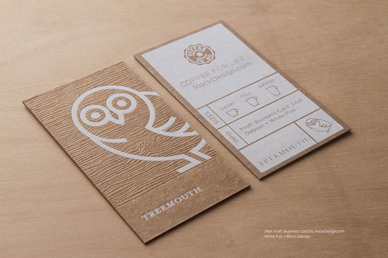 Brown kraft business cards rockdesign design branding and order or creative brown kraft business cards today select your preferred print finishing such as embossing deboss letterpress offset printing magicingreecefo Image collections