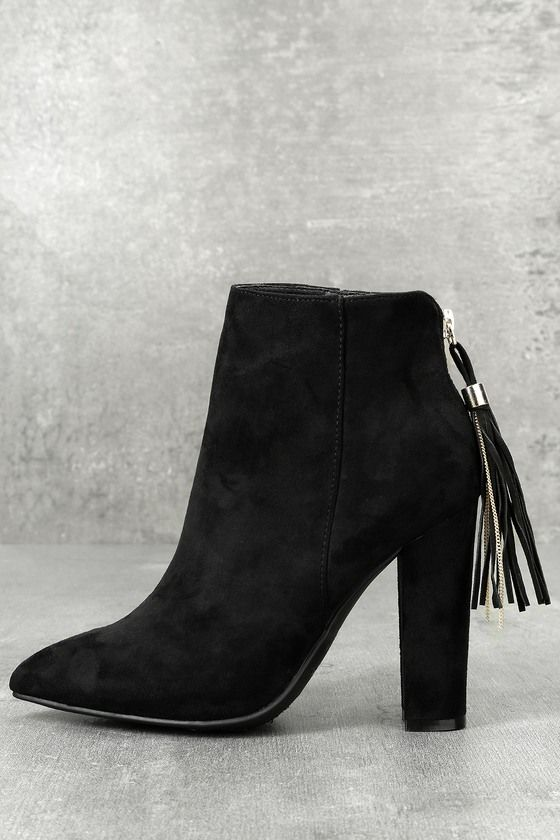 e28583a07a4e ... look with the Mishka Black Suede Pointed Toe Ankle Booties! Chic vegan  suede covers the pointed toe upper and rises to an ankle high shaft. 3