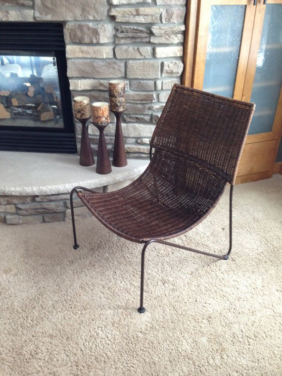 Bon Wicker U0026 Wrought Iron Sling Scoop Chair Frederic Weinberg Style, Mid  Century Modern,Vintage