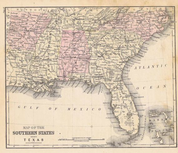 Antique Railroad Map Southern US Map Dork Pinterest - Map of southern us states