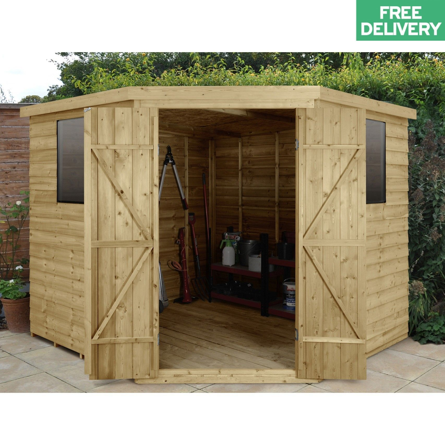 Overlap Pressure Treated 8x8 Corner Shed 8x8 Corner Overlap Pressure Shed Treated In 2020 Corner Sheds Wooden Sheds Building A Shed