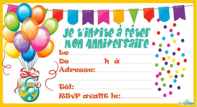 Invitation Anniversaire Ballons Et Confettis De 3 A 9 Ans 123 Car Carte Invitation Anniversaire Cartes Invitation Anniversaire Enfant Invitation Anniversaire