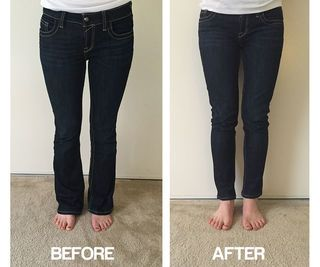Transform flares into skinny jeans - I had some old boot cut jeans that aren't my style, and I found myself never wearing them. It turns out to be super simple to transform them into skinny jeans! I wouldn't try this on your nicest pair of jeans for the first try, but it's definitely a way to salvage pants that... | http://wp.me/p5qhzU-grv | #DIY #DoItYourself
