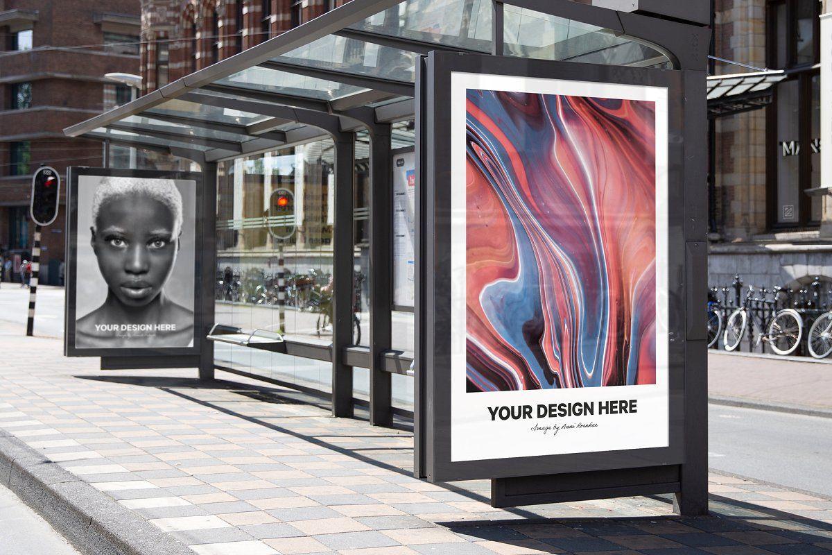 City Bus Stop Poster Mockup Poster Mockup Bus Stop Design Bus Stop Advertising