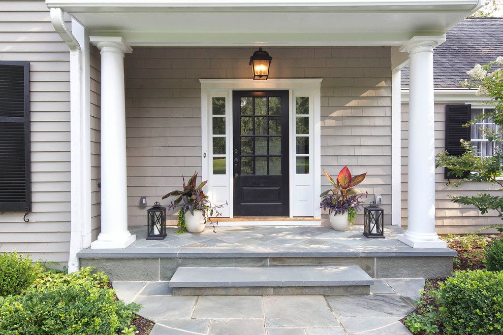 Large Covered Front Entrance Way Colonial Front Door