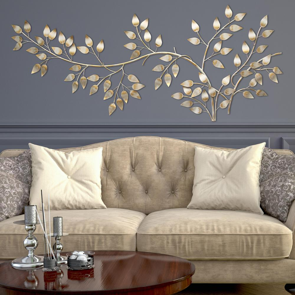 stratton home decor brushed gold flowing leaves wall decor on wall art for home id=49268