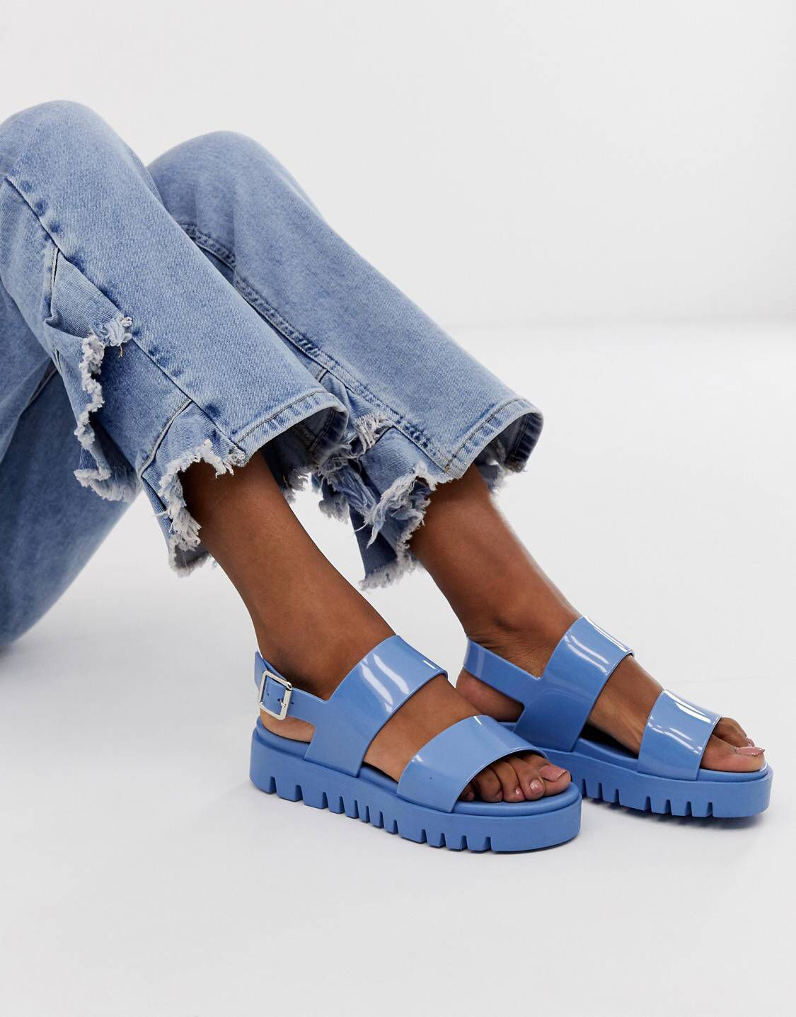 672bf3d032 DESIGN Fadey chunky jelly flat sandals in 2019 | ZING | Flat sandals, Shoes,  ASOS