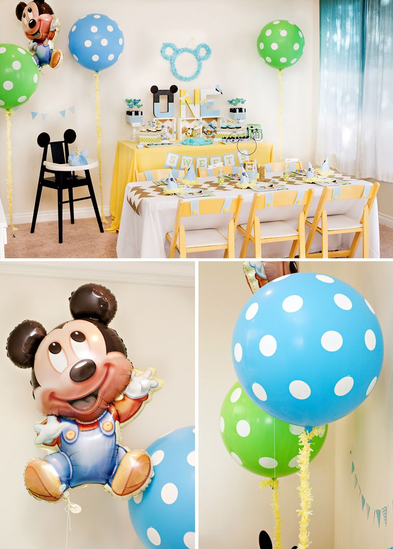 Baby mickey 1st birthday decorations for Baby birthday decoration
