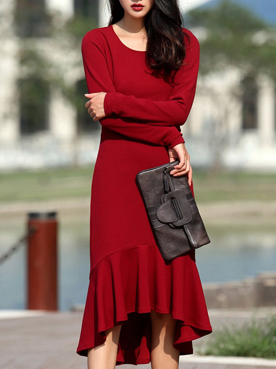 50b51de4fa8  AdoreWe  She s She s Red Solid Elegant Mermaid Cotton-blend Midi Dress -  AdoreWe.com