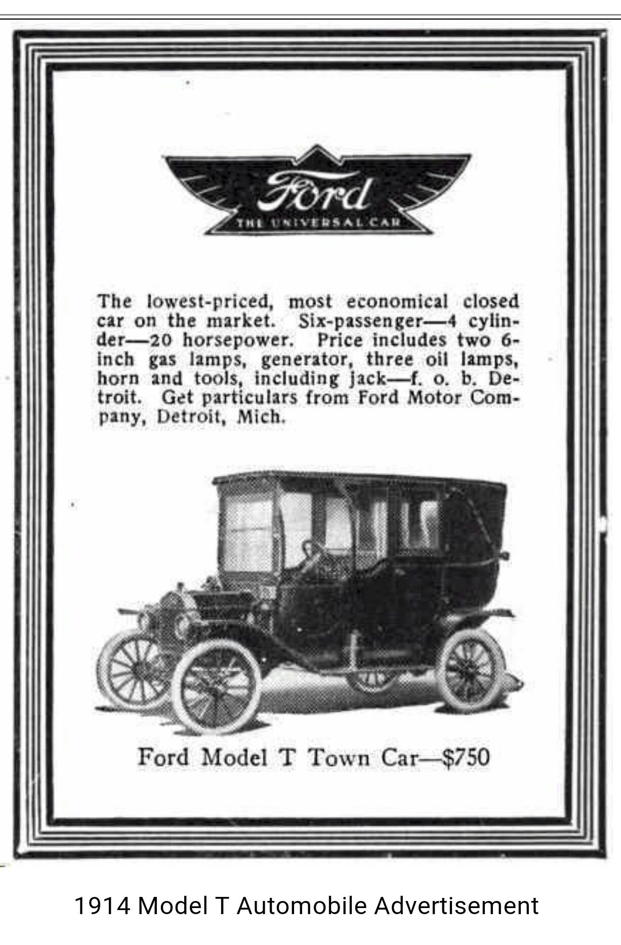 1914 Ford Model T Automobile Advertising Ford Motor Ford Models