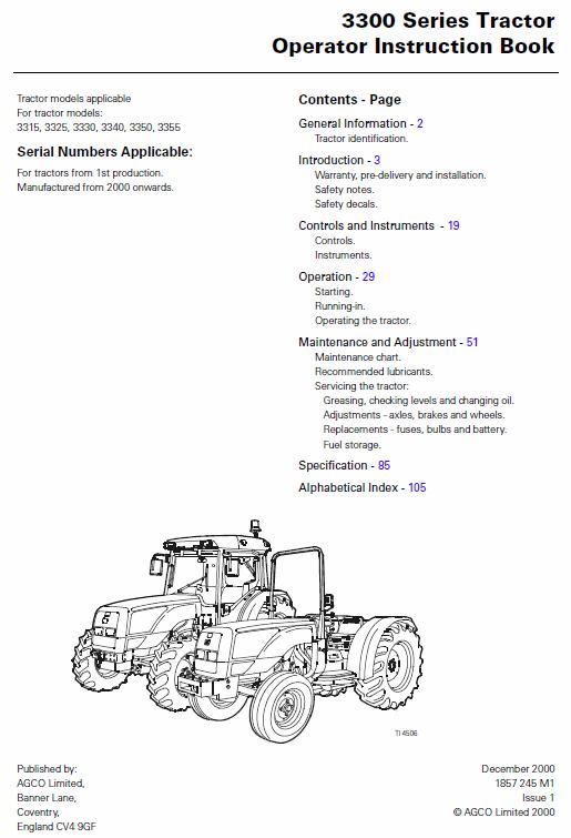 Massey Ferguson 3340 3350 3355 Tractor Service Manual Tractors Massey Ferguson Manual