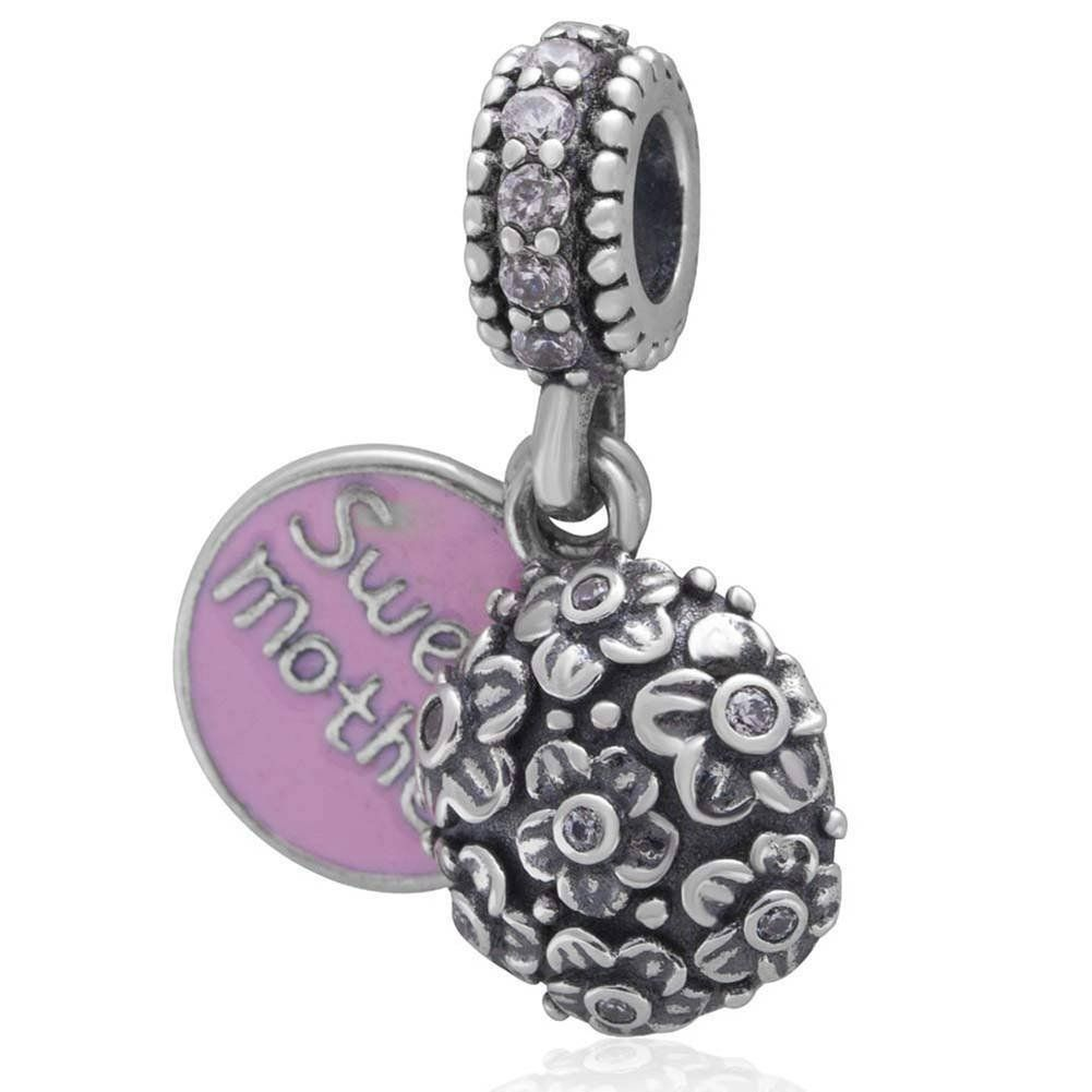 Garnet Red Zircon Crystal Charm 925 Sterling Silver Bead Fits European Brand Charms
