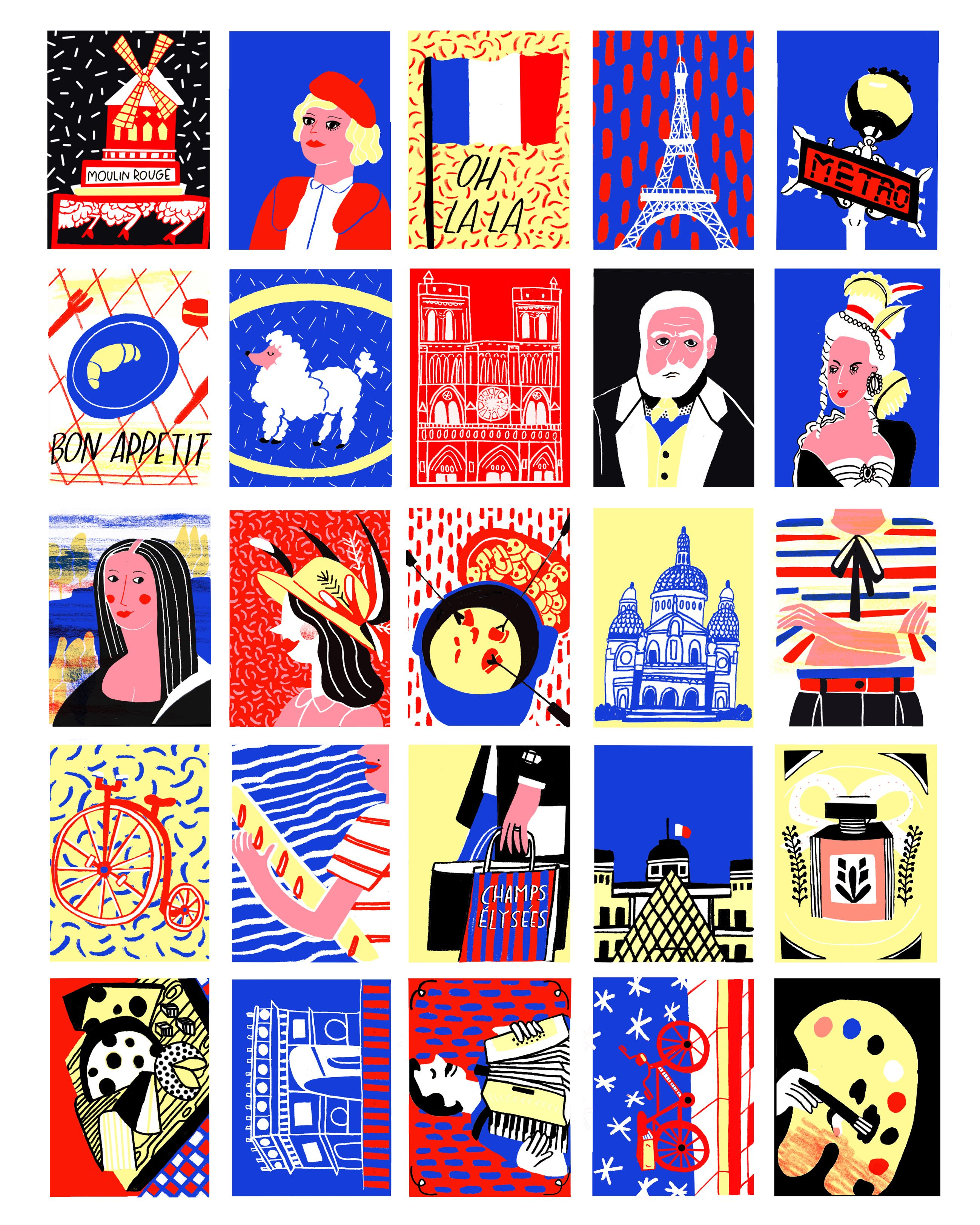 Some test works of Paris, Ny and London. Maps and Stamps