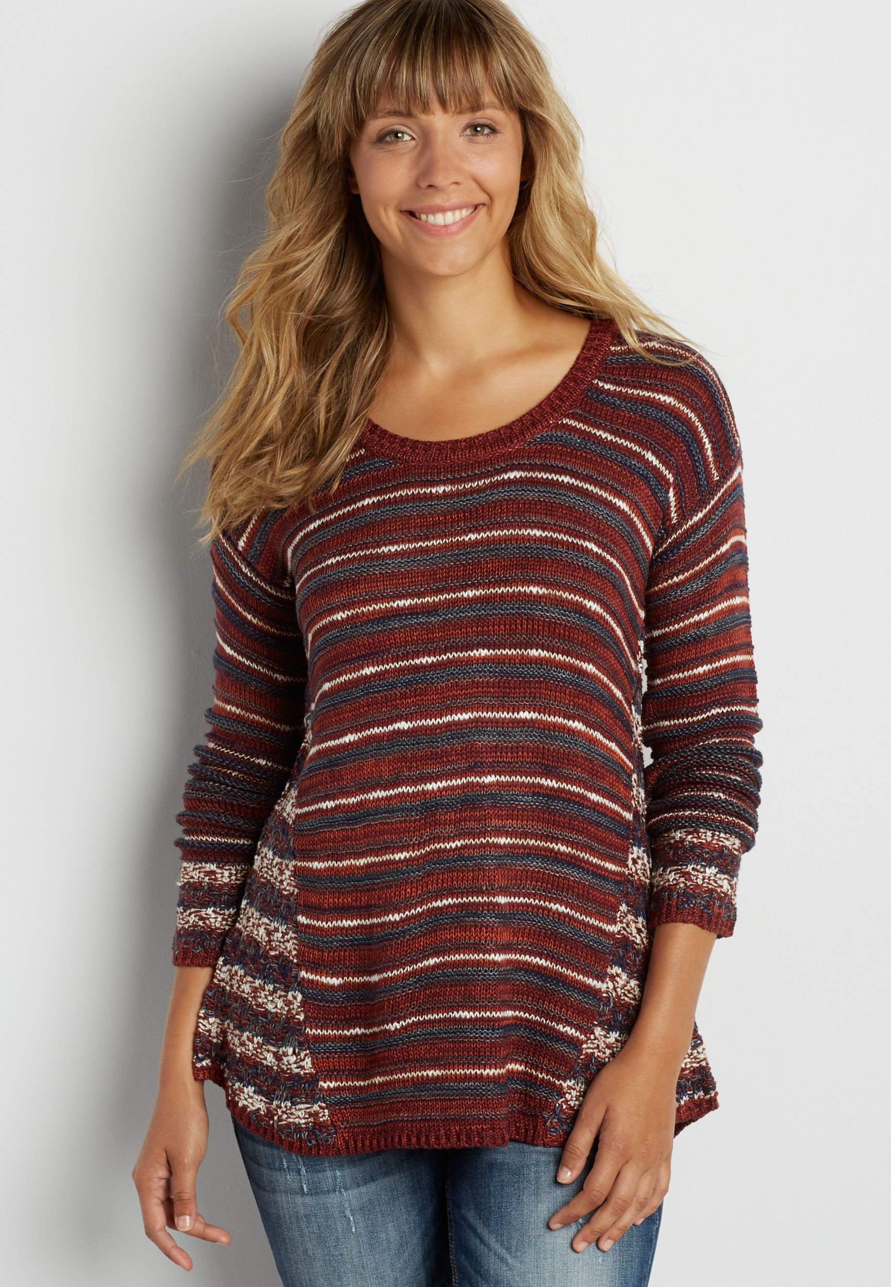 striped pullover swing sweater (original price, $39.00) available at #Maurices