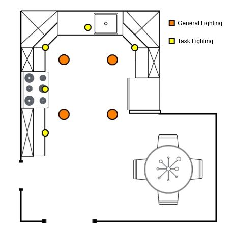 how to arrange recessed lighting general and task - Kitchen Lighting Layout
