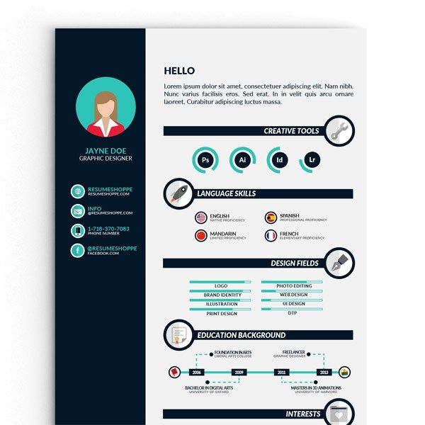 Free Infographic Resume Template For Best Impression  Http