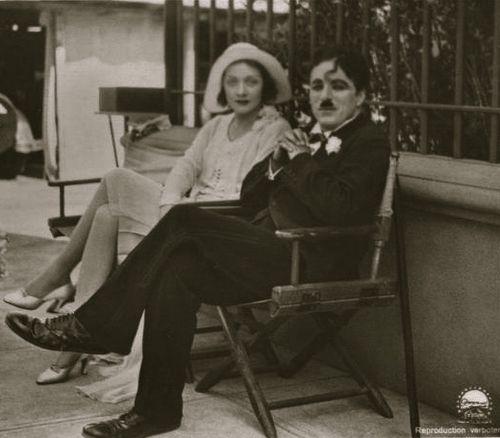 Marlene Dietrich & Charlie on the set of City Lights c.1930