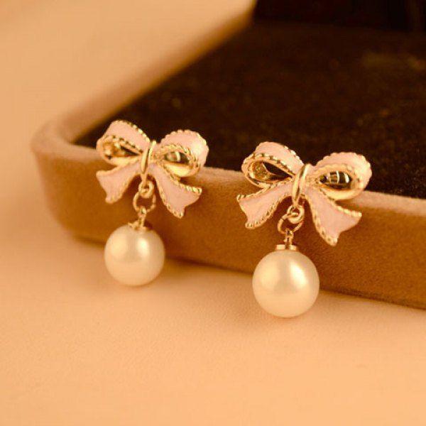 Pair of Elegant Bowknot Embellished Faux Pearl Pendant Earrings For Women