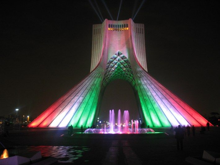 Located In Tehran, Iran, Stands An Amazing Building. The Azadi Tower Lit Up
