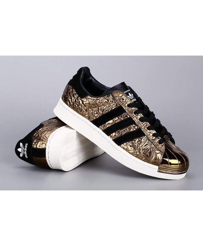 Adidas Superstar Mens Shoes In Gold And Black On Sale