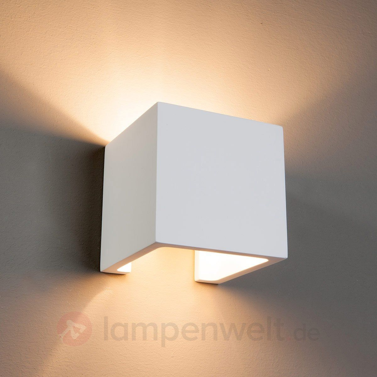 Dezente Halogen Wandleuchte Freja Aus Gips 9613001 Wandleuchte Fassadenbeleuchtung Lampen Und Leuchten